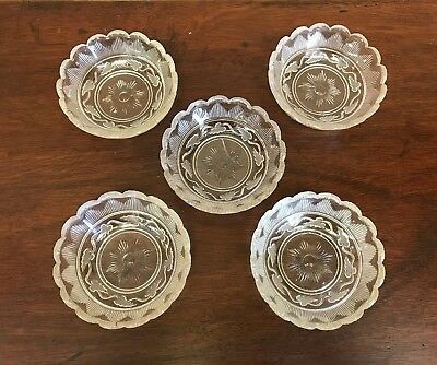 Rare!  EAPG Cape Cod Glass Co Hamilton With Frosted Leaves Flint 5 Sauce Dishes