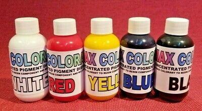 Color Pigment Paste 4 Epoxy Resins Art Resin -Black White Red Yellow Blue Kit