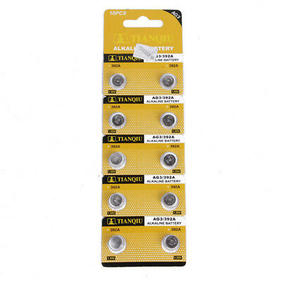 10PCS AG3 LR41 392 SR41 192 1.5V Alkaline Button Coin Cells Watch Battery Sturdy