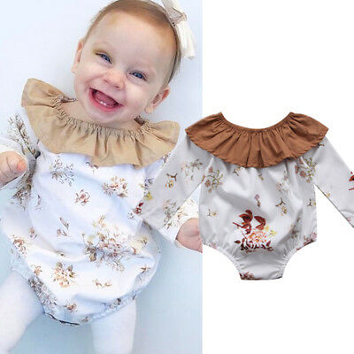 UK Toddler Baby Girls Floral Clothes Long Sleeve Bodysuit Romper Jumpsuit Outfit