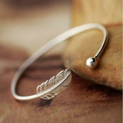 Simple Silver Plated Adjustable Open Feather Bangle Cuff Bracelet Jewelry