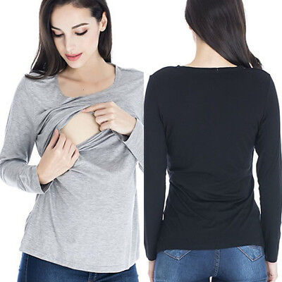 UK Long Sleeve Breast Feeding Nursing Tops Maternity Clothes for Pregnant Women