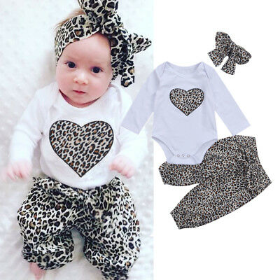 UK Stock Newborn Baby Kids Girls Clothes Leopard Romper Tops Pants Outfits Set