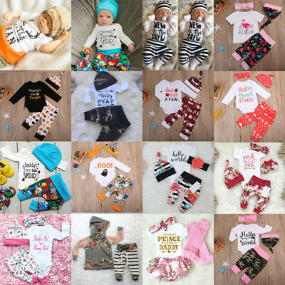 Newborn Baby Boys Girls Infant Bodysuits Tops +Long Pants Hat Outfit Clothes Set