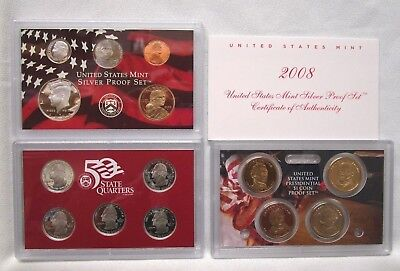 2008 Us Mint ***silver*** Proof Coin Set With Box & Coa