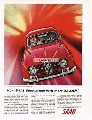 1966 Saab Special Red Vtg Print Ad