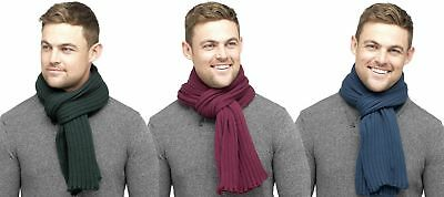 Tom Franks Mens Knitted Ribbed Scarf