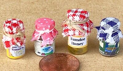 1:12 Scale 4 Jars With Check Cloth Top Of Assorted Jam Dolls House Food Set 5