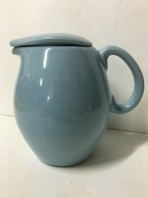 Russel Wright Iroquois Casual Ice Blue Mid-century Modern Covered Pitcher 1qt.