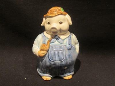 Pig with Pipe & Overalls Otagiri Hand Crafted Mid-Century Coin Piggy Bank