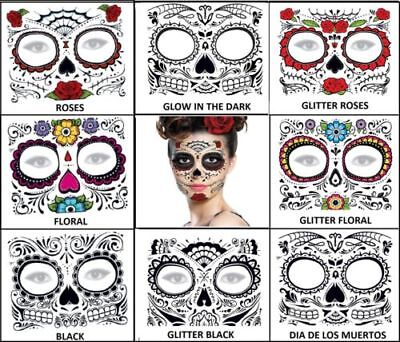 DAY OF THE DEAD SKULL FACE HALLOWEEN Temporary Tattoos 8 DESIGNS TO CHOOSE FROM