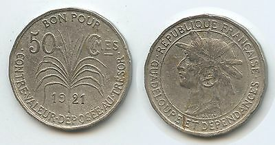 G2647 - Guadeloupe 50 Centimes 1921 SEHR RAR KM#45 French Colony
