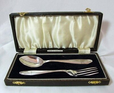 STUNNING Solid Silver Christening Set Sheffield 1933 Angora Silver Plate Co Ltd