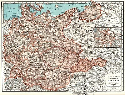 1943 Antique GERMANY Map Vintage 1940s Map of Germany Gallery Wall Art 3998