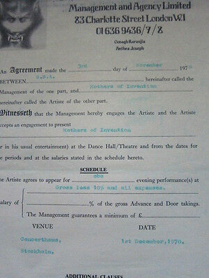 FRANK ZAPPA Mothers of Invention Concert contract Stockholm 1970 unsigned