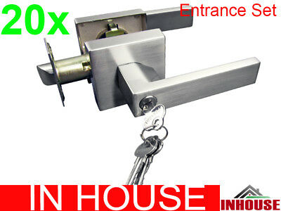 Builders!wholesalers!resell!bulk 20xDoor handles-entrance set-Satin finish(6502)