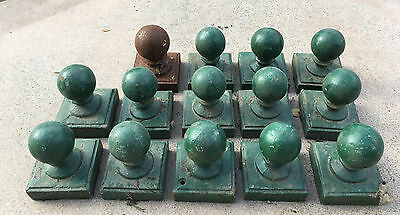 "Lot Of 14 Salvaged Mid-Century Cast Iron Fence Finials ""lowest Price I Can Go"""