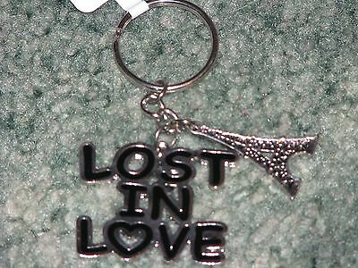 """Girls CLAIRES  """"LOST IN LOVE"""" Keychain w/ Eiffel Tower Charm  Black & Silver"""
