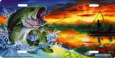 Large Mouth Bass Catch of the Day Art Color Fisherman Vanity License Plate NEW