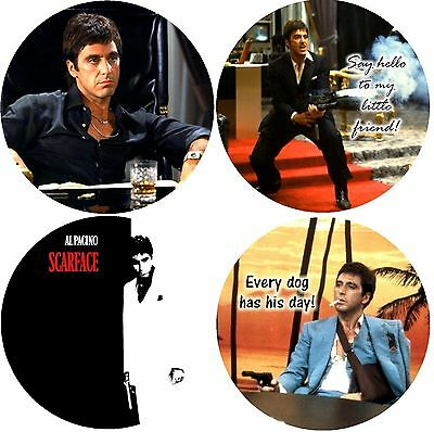 Scarface Al Paccino Rubber Drink Coasters Polyester Top Rubber Bottom Set of 4
