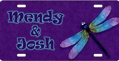 Personalized Custom Dragonfly Colorful License Plate Add Names Initials etc.