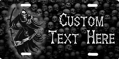 Personalized Custom Grim Reaper Skulls Spooky Death Background License Plate NEW