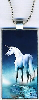 """Unicorn Moon Magical Colorful Rectangular Pendant Charm Necklace w/24"""" Chain NEW"""