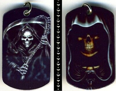 """Grim Reaper Death Mythical Skull Aluminum Dog Tag Necklace w/30"""" Ballchain NEW"""