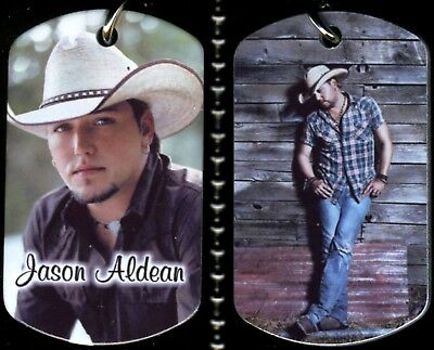 "Jason Aldean Country Color Photo Aluminum Dog Tag Necklace w/30"" Ballchain NEW"