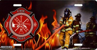 "Fire Fighting Firemen Firefighters Flames Color Art License Plate 12""x6"" NEW"