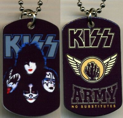 """KISS Army Rock N Roll Color Logo Photo Aluminum Dog Tag Necklace w/30"""" chain NEW"""