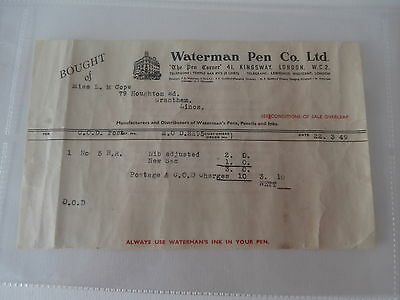 LETTER / INVOICE FROM WATERMAN PEN Co. Ltd. - DATED 1949
