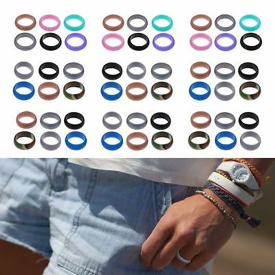 6Pcs Men Women Flexible Workout Rubber Silicone Rings Wedding Lovers Band Ring