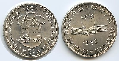 G0706 - Südafrika 5 Shillings 1960 KM#55 Silber 50th Anniv. South African Union