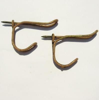 Pair Vintage Bent Wire Double Coat Hat Hooks Screw In Chipping Tan Paint 2