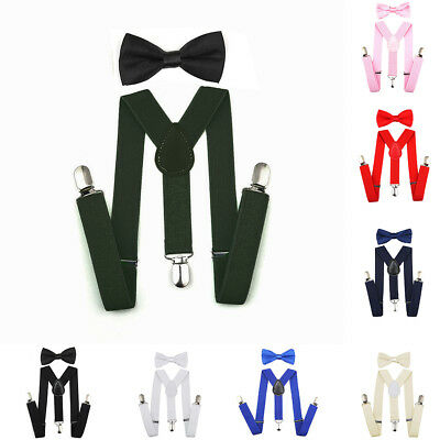 New Style Suspenders Bowtie Bow Tie Matching Ties Baby Boys Girls Children Kids