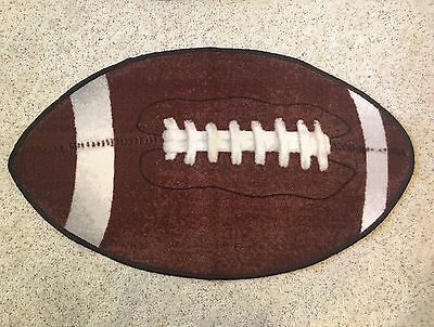 Large Brown and White Football Accent Floor Rug