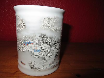Antique snow scene porcelain Chinese brush pot with mark