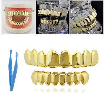 Gold Plated Hip Hop Teeth For Grillz Eight Top And Eight Bottom Grill Set Grills