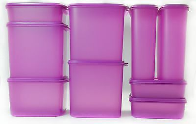 Tupperware Modular Mates Oval Pantry Set of 14 Purple Seal Airtight Container