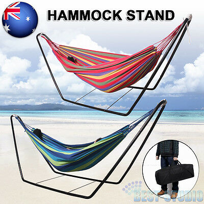 Double Cotton Fabric Hammock Steel Frame Stand Combo Swing Chair Indoor Outdoor