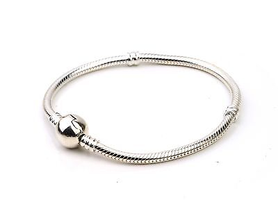Premium Moments Sterling Silver Smooth Clasp Bracelet 17cm UK