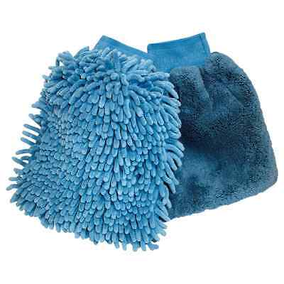 New Oxford Motorcycle Bike Wash & Wax Double Sided Cleaning Glove Mitts Blue x2