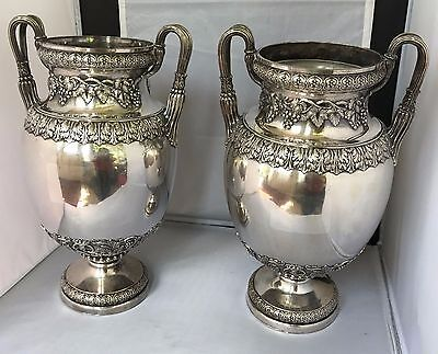 Magnificent Pair of Regency Sheffield Vase Form Wine Coolers w/ Grapevine Motif