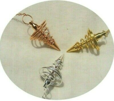 3 Metal Pendulums Spiral, Gold, Silver & Copper Plated, Reiki Healing Dowsing.