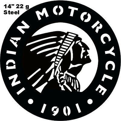 "Indian Motorcycle 1901 Series Laser Cut Out Silhouette Sign 14""x14"" Round"