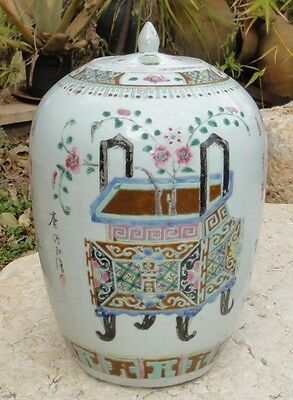 Rare - Signed Chinese Export Famille Verte Ming Antique Porcelain Vase Poems Jar