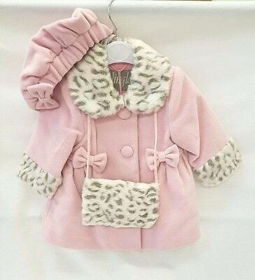 NEW AW2017 Jingles Girls Pink / Black Winter Coat,hat & hand warmer 12 MONTH