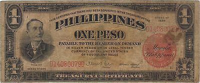 1936 1 One Silver Peso Philippines Currency Banknote Note Money Bank Bill Cash