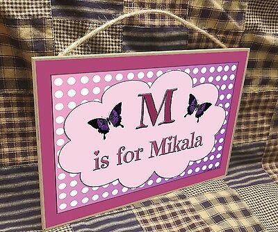 "Personalized Butterfly Name Kids Room Baby Nursery 7"" x 10.5"" SIGN Plaque"